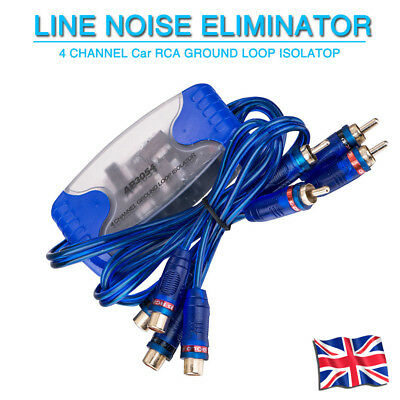 4 CHANNEL RCA GROUND LOOP ISOLATOR LINE Sound Eliminator REMOVE NOISE FILTER