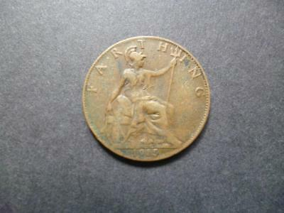 1915 Farthing Coin King George The Fifth Good Used Condition, Bronze.