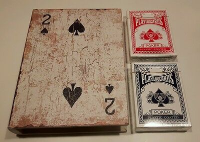 Set Box In Wood + 2 Deck Playing Cards Poker,2 Of Spades,gift Idea Decoupage