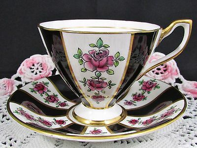 Taylor & Kent Rosemary Black Panels Pink Roses Tea Cup And Saucer