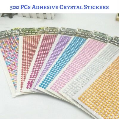 500 PCs × 3mm Assorted Colours Self Adhesive Stick on Crystals - Rhinestone Gems