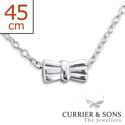 925 Sterling Silver Tiny, Dainty Bow Pendant Necklace Design 3 (45cm / 18 inch)
