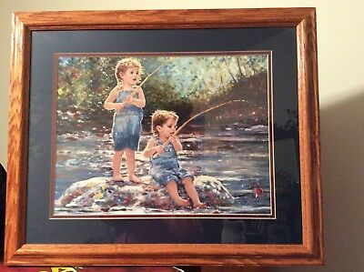 """Home Interior/Home and Garden """"Girl and Boy Fishing"""" Framed Picture"""