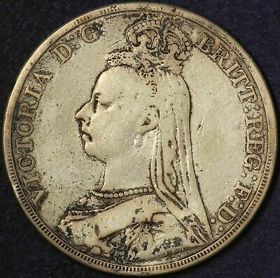 1889 Great Britain One Crown Sterling Silver - Free Shipping USA