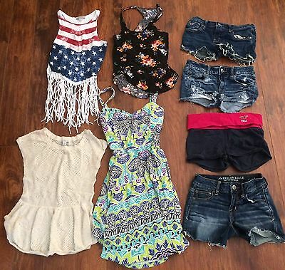 Huge Lot Womens AE Shorts 0 Hollister 3 Stretch Aeropostale Dress Shirts S XS