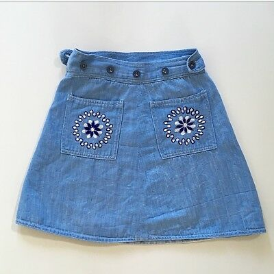 70s Girls Embroidered Denim Wrap Skirt 2T 3T 4T 5T 6T 7 8 9 Yrs FREE SHIP