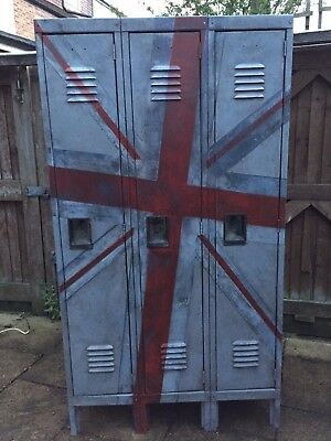 School Lockers - Vintage 1950's - with Unique Union Jack design