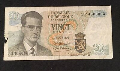 VINTAGE ROYAUME DE BELGIQUE 20 FRANCS BANKNOTE 1964 foreign currency