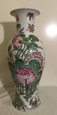 Tall Chinese Hand painted Lotus Flowers Birds Porcelain Floor Vase Qianlong Mark