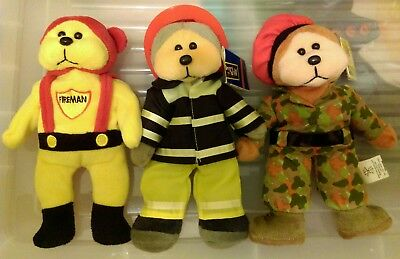 Beanie Kids, Lot of 3, Brave, Firey Fireman & Thomas the Army Bear, 2 W/T's, L/N