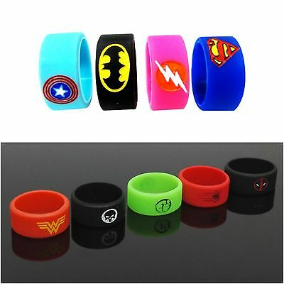 Superhero Pack of x9 Vape Bands Rings Silicone Logo For Mod RTA RDA SMOKE
