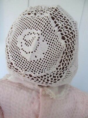 Vintage Baby / Doll Bonnet - Crocheted Ivory Cotton - Excellent & So Cute!