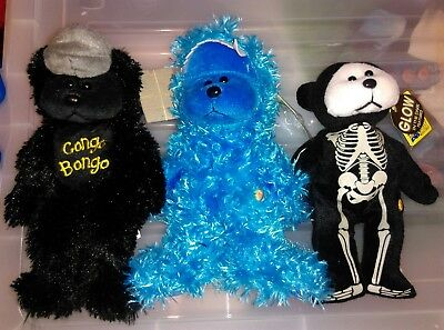 3 Beanie Kids, Congo bongo, Gobble monster, & Skully skeleton, 2 uncommon, W/T's