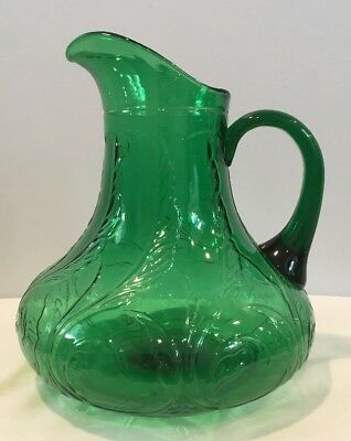"Antique 9-1/2"" Tall Victorian Emerald Green Art Glass Pitcher Scroll Leaf Design"