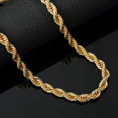 Gold Plated Rope Cuban Twist Chain 90cm*8mm Iced Out Necklace Hip Hop Bling