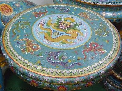 """32"""" A suit of Pure bronze Cloisonne nine dragons  Table and four  stools Statues"""