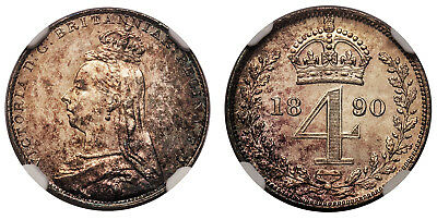 GREAT BRITAIN. Victoria. 1890 AR Maundy Set. NGC MS65. KM MDS146; SCBC-3932
