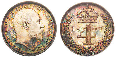 GR BRITAIN Edward VII 1907 AR Maundy Set NGC MS64-65 S-3985 Attractively toned