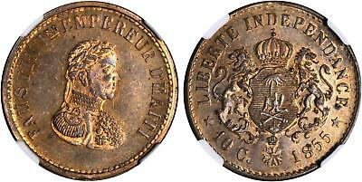 HAITI. Faustin I 1855 Brass Pattern 10 Centimes. NGC PR63. Crowned arms KM Pn69a