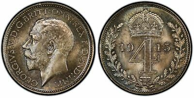 GREAT BRITAIN. George V. 1913 AR Maundy Set. PCGS PL66-PL67 KM MDS171; SCBC 4016