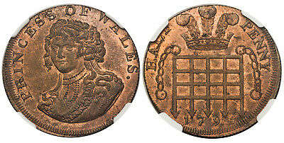 GR BRIT Middlesex 1795 CU National Series Halfpenny Token NGC MS65RB DH977
