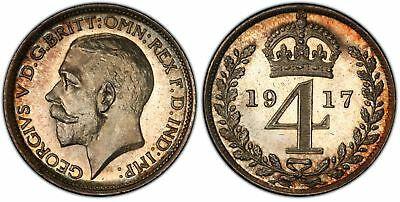 GREAT BRITAIN. George V. 1917 AR Maundy Set. PCGS PL66-PL67+ KM MDS175; S4016