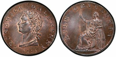 GREAT BRITAIN. Middlesex. 1795 CU Halfpenny Token. PCGS MS65RB.  DH 348.