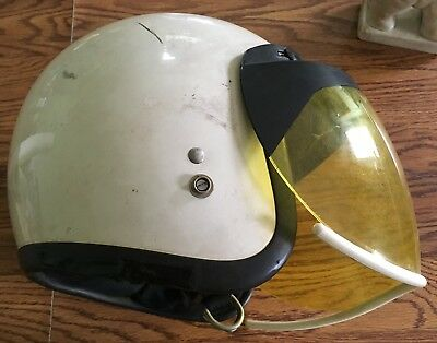 Vintage Bell R - T Motorcycle Helmet Open Face With Yellow Visor White  size 7