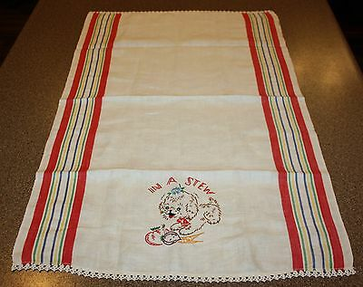 Vintage Embroidered In A Stew Dog Puppy Tea Towel Linen