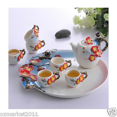 Fashion Classical Household Porcelain Tea Tray+White Pottery Teacup Tea Set 7
