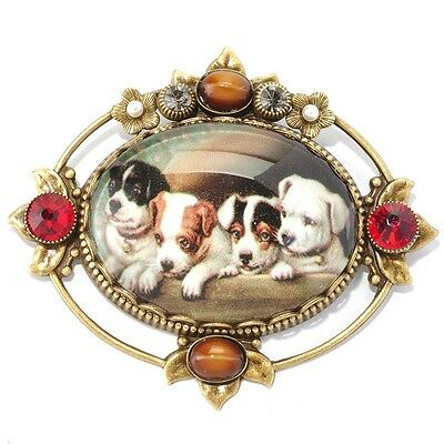 New Sweet Romance Victorian Style Christmas Puppies Pin ~Cute Dogs~~