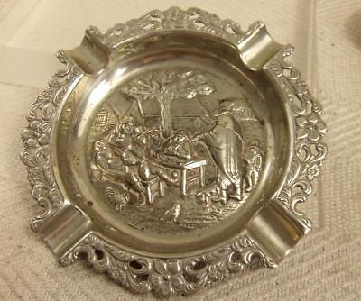 """Lovely Vintage Silver Plate Embossed & Pierced 6"""" Ashtray Dish Country Scene"""