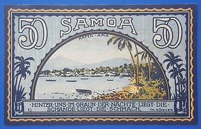 Notgeld German Pacific Colonies-German Samoa-50 Pfennig-1922- Lot 31 .