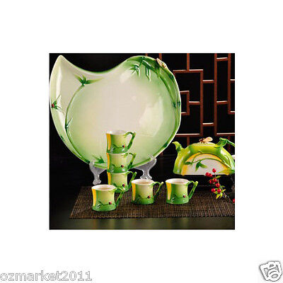 Household Porcelain Bamboo Pattern Tea Tray/Tea Pot/ Teacup Tea Set 8pcs