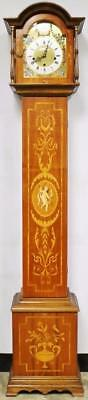 Beautiful Vintage Walnut Marquetry 3 Train Musical Chime 8 Day Longcase Clock