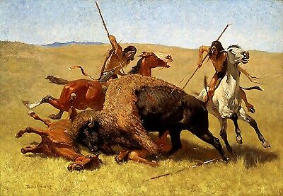 The Buffalo Hunt Painting by Frederic Remington Art Reproduction