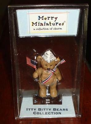 """Boxed Hallmark MERRY MINIATURES """" Dandy """" Patriotic Itty Bitty Bear Jointed"""