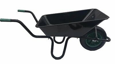 85 Litre Black Wheelbarrow Heavy Duty Garden Work Green Pneumatic Wheel Strong
