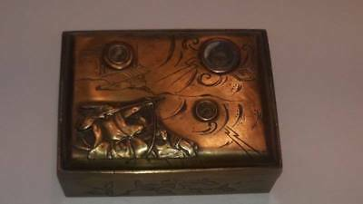 Antique Japaneses Brass & Silver Samurai Compass Box