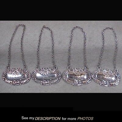 4 Antique Sterling Silver Rococo Liquor Bottle Tags Rye Rum Gin Scotch