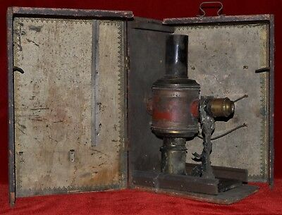 Antique Magic Lantern in Wood Case Candle Lit Late 1800s