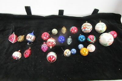 Vintage Lot of 25 Christmas Holiday Glass Ornaments Mixed Bright Colors