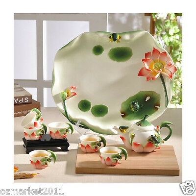Fashion Classical Household Porcelain Tea Tray+White Pottery Teacup Tea Set 6