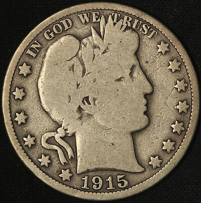 1915-P Barber Half Dollar - Free Shipping USA