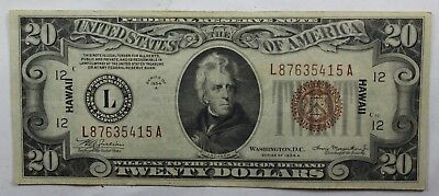 1934 A $20 Dollar Bill Hawaii Brown Seal Federal Reserve Note Wwii Currency
