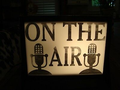 "Vintage ""on Air"" Light Up Studio Sign. Very Old. Metal Housing. In Line Switch."