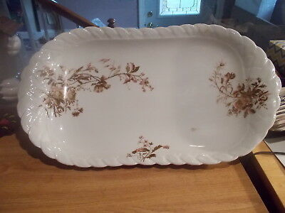"""ANTIQUE 19"""" HAVILAND Limoges Ice Cream Serving Tray - Pink & Brown Flowers"""