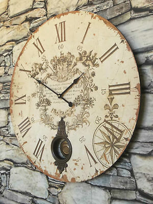 EXTRA LARGE 60cm ANTIQUE FRENCH VINTAGE STYLE WALL CLOCK SHABBY CHIC Round NEW