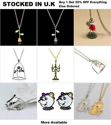 Beauty and the Beast Jewellery Single Rose Beauty & the Beast Pendant Necklace