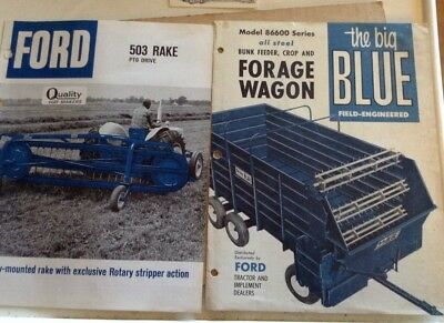 Vintage Ford Tractor Implements Big Blue Forage Wagon  503 Rake Brochure